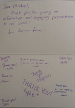 Algebra Class thank you card